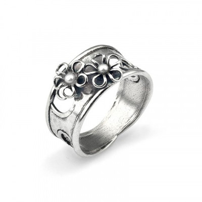 Double Pearl Flower Open Work Ring
