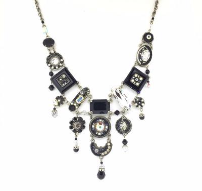 """La Dolce Vita"" Elaborate Neck, Black & White Swarovski Crystals"