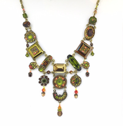 """La Dolce Vita"" Elaborate Neck, Smoky Topaz/Olivine Swarovski Crystals, Antique Gold"