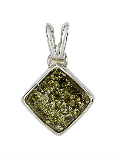 Sterling Silver Diamond-Shaped Pendant in Green Amber