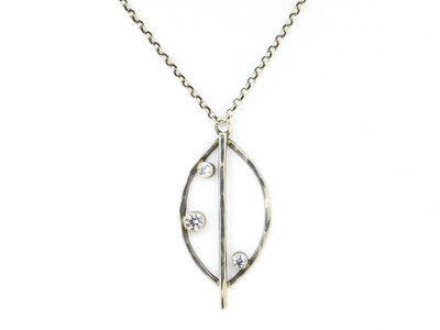 Hammered Sterling Silver Necklace w/Three CZ Round Stones