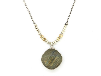Faceted Cushion Cut Labradorite/Sterling Silver Necklace