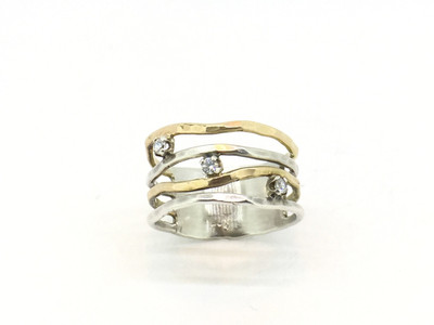 Hammered Sterling Silver/14K Gold Filled Band w/CZ,  Size-7