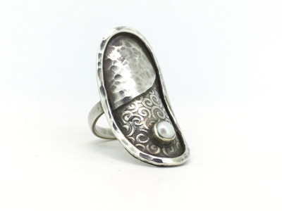 Rising Moon Sterling Silver Ring w/4mm Bezel Set Pearl