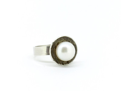 Cupped Pearl Sterling Silver Ring, Size-6