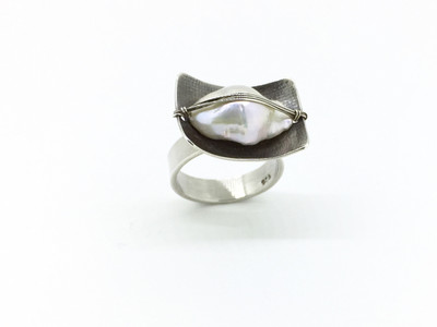 Sterling Silver Wrapped White Keishi Pearl Ring, Size-7