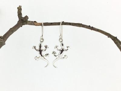 Sterling Silver Lizard Fish Hook Earrings