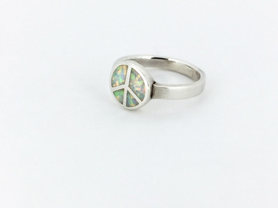 Sterling Silver Opal Peace Sign Ring