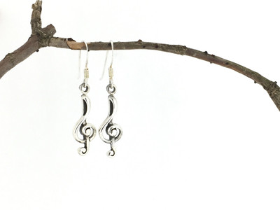 Music Notes Sterling Silver Fish Hook Earrings