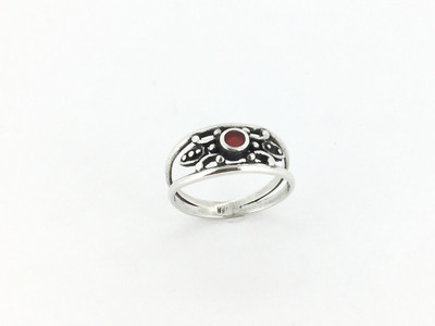 Round Carnelian/Sterling Silver Band Ring