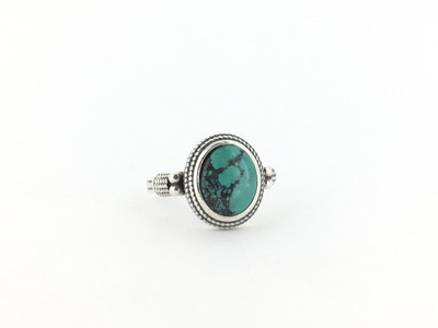 Oval Bali Style Sterling Silver Turquoise Ring