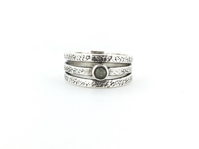 Etched Three Row Band Sterling Silver/Labradorite Ring