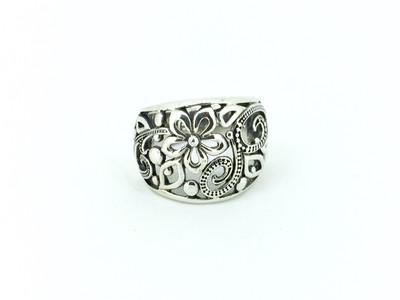 Open Work Sterling Silver Flower Band Ring