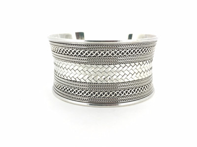 Sterling Silver Wide Weaved Cuff Bracelet