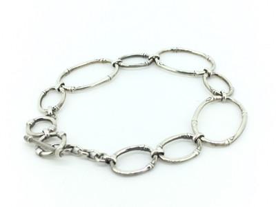 Sterling Silver Oval Bamboo Link Toggle Bracelet