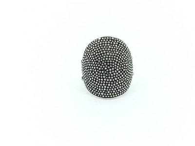 Sterling Silver Curved Oval Granulation Ring