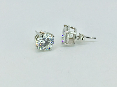 Sterling Silver/CZ Prong Set Stud Earrings (High Setting), 9mm