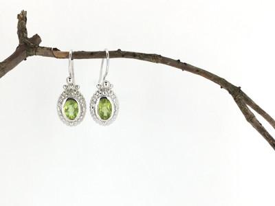 Sterling Silver/Peridot Oval Shape Fish Hook Earrings