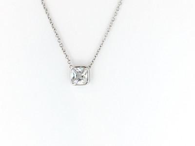 Sterling Silver/ CZ Square Bezel Necklace