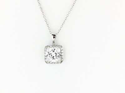 Sterling Silver/CZ Square Necklace