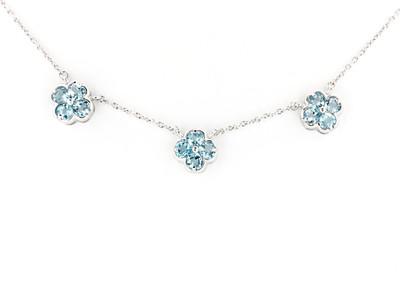 Sterling Silver/Blue Topaz Triple Florette Necklace