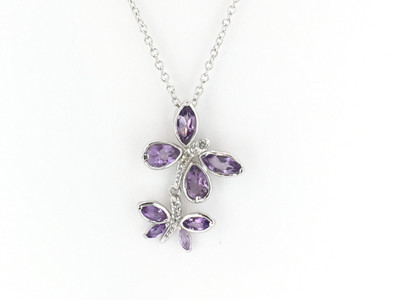 10cc191a8 Double Stone Amethyst Sterling Silver Necklace - Mima's Of Warwick, LLC