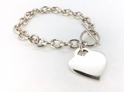 Sterling Silver Heart Charm Toggle Bracelet