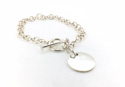 Sterling Silver Circle Charm Toggle Bracelet
