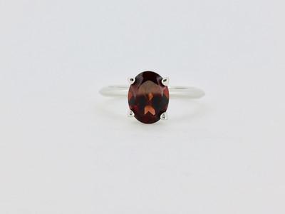 Sterling Silver/Garnet Oval Ring