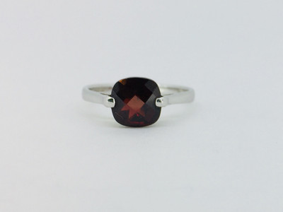 Sterling Silver Faceted Garnet Square Stone Ring