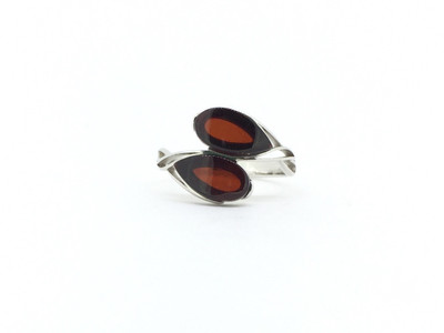 Cherry Amber Double Stone Ring - Size 7