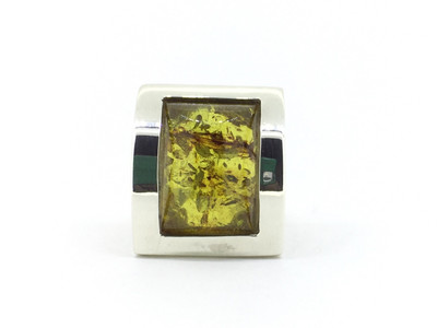 Large Rectangle Ring with Green Amber Stone - Size 8