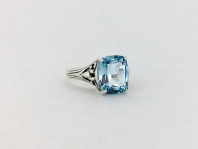 Sterling Silver/Blue Topaz Emerald Cut Marcasite Ring