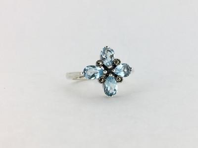 Sterling Silver/Blue Topaz Flower Marcasite Ring