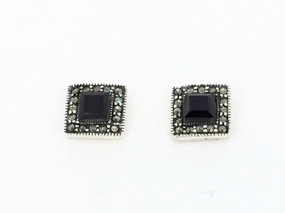 Sterling Silver/Onyx Square Marcasite Post Earrings
