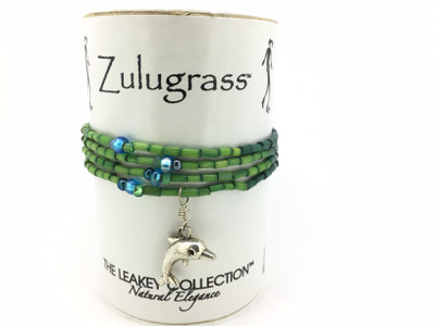 Zulugrass Can - Single Strand w/Dolphin Charm (green/blue)