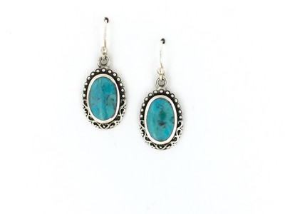 Oval Shaped Sterling Silver/Turquoise Fish Hook Earrings