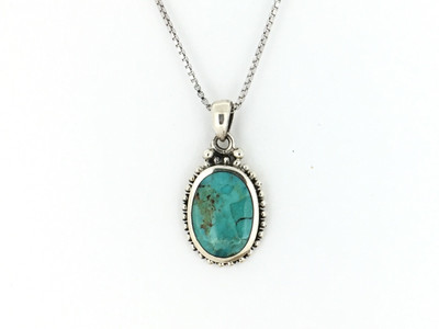 Sterling Silver/Turquoise Oval Pendant w/Chain