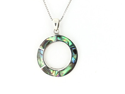 Sterling Silver/Abalone Open Circle Inlay Pendant w/Chain