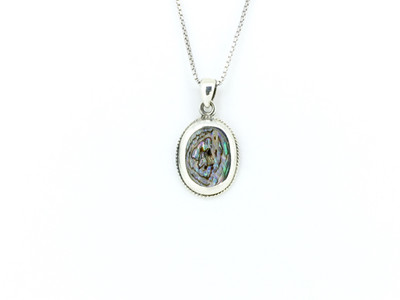 Oval Sterling Silver/Abalone Pendant w/Chain