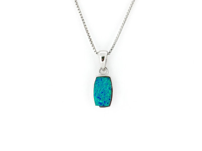 Sterling Silver/Blue Opal Rectangle Pendant w/Chain
