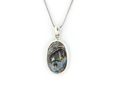 Sterling Silver/Abalone Oval Pendant w/Chain