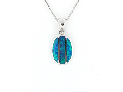 Sterling Silver/Blue Opal Oval Inlay Pendant w/Chain