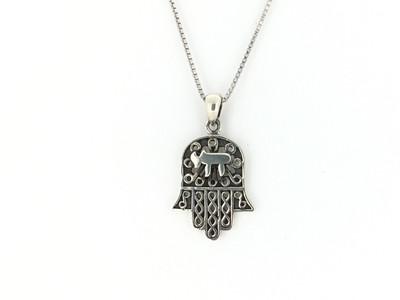Sterling Silver Hamsa Pendant w/Chain