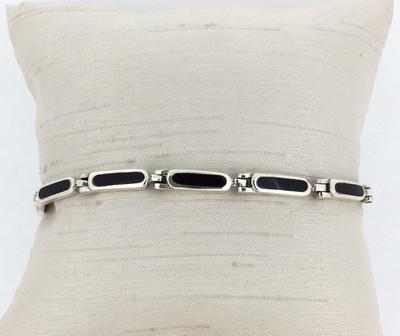 Sterling Silver/Onyx Narrow Hinged Bracelet