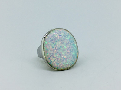 Sterling Silver/White Opal  Large Oval Ring