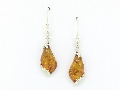 Honey Amber Wire Dangle Earrings
