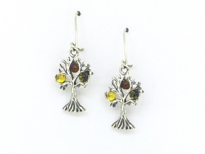 Tree of Life Earrings with Honey, Citrine, and Cherry Amber