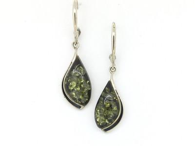 Teardrop Earrings with Green Amber