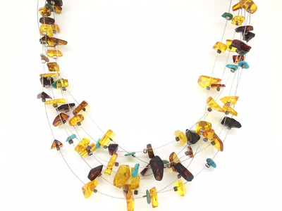 Amber and Turquoise Multi-Wire Necklace